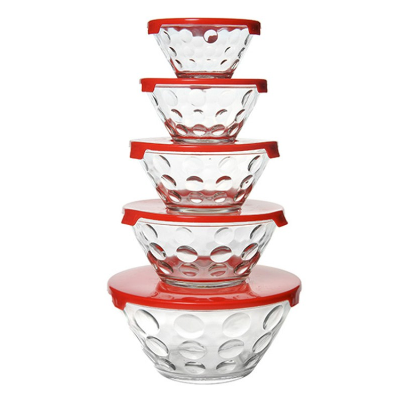 Hot Sale 5pcs Set Glass Food Storage Bowl Set with Colorful Lid