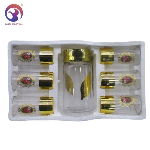 New Design 7PCS Golden Glass Jug Set Water Set Drinking Items