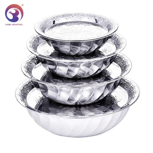 New Design Stainless Steel Mixing Bowls and Dishes with Printing Flower LBSB6825