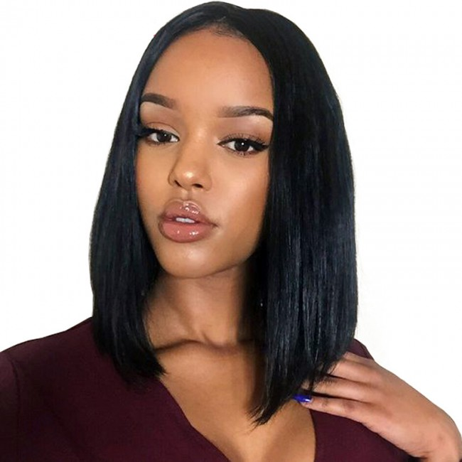 2019 Amazon Hot Selling Synthetic Wig Fashion Black Short Braid Synthetic Wig Women Hair Wig