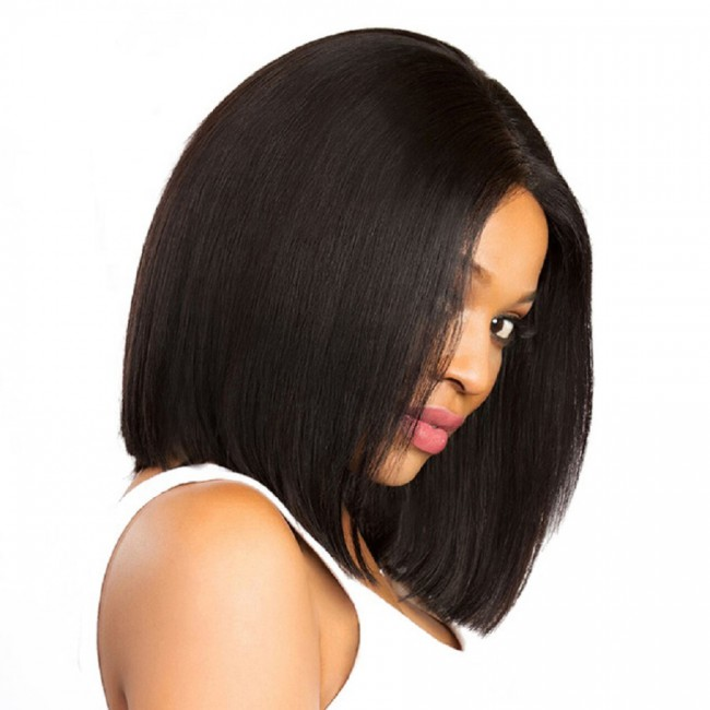 Hanne Shoulder Length Virginn Brazilian Human Hair middle part lace front short bob wigs for black women