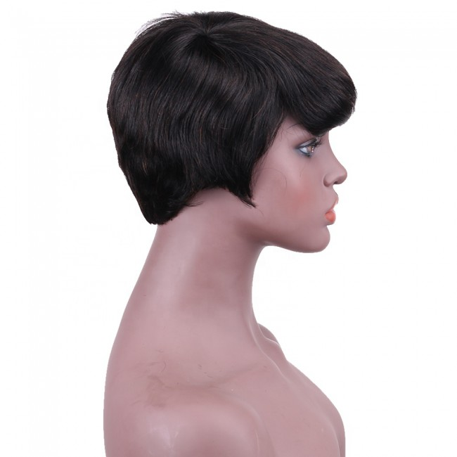 High quality 100% Human Hair Short Pixie Cut Wigs Brazilian Wig with Bangs for Women Natural Black Color