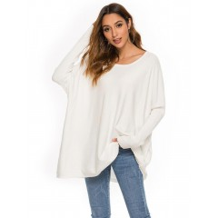 European and American fashion loose round neck long sweater