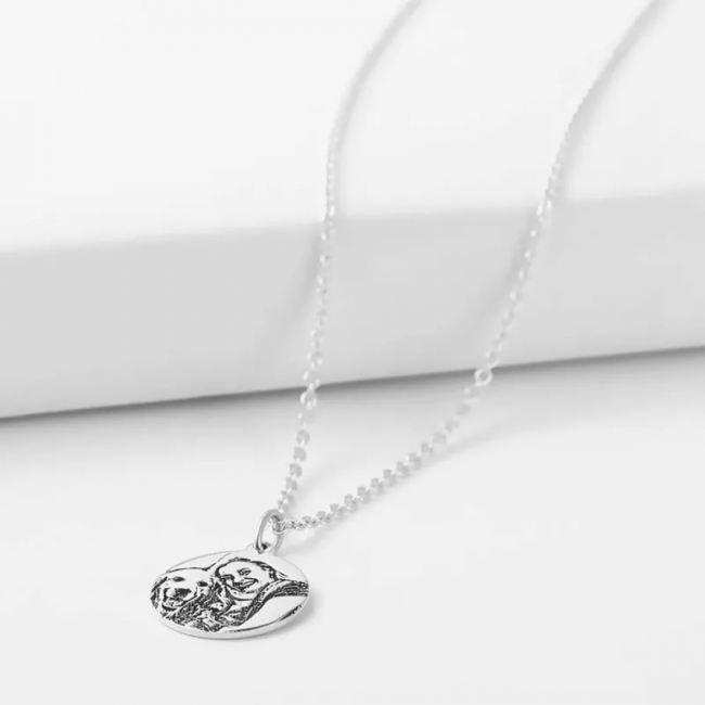 Engraved Oval Shadow Carving Photo Necklace Silver