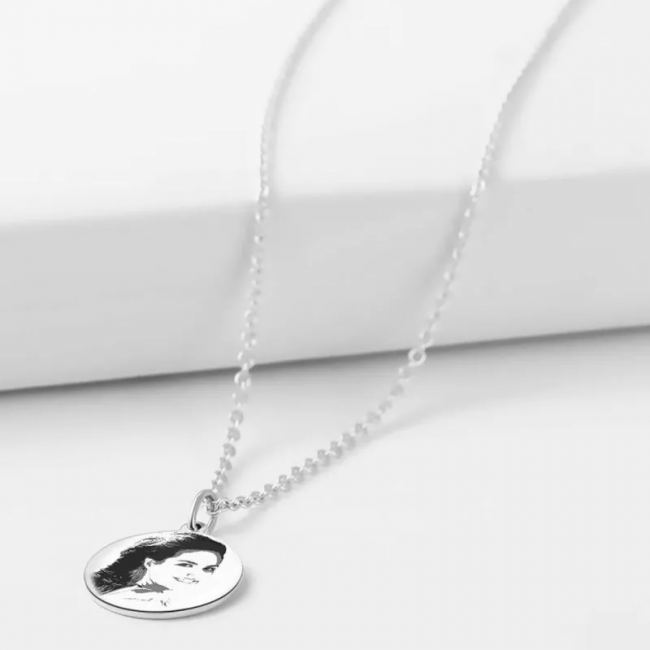 Engraved Round Shadow Carving Photo Necklace Silver