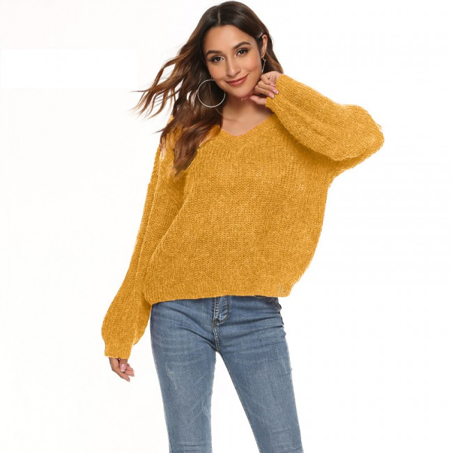 European and American women's latest autumn and winter solid color