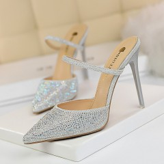 Private Label Tacon Bling Diamond Decoration Korean Style Women Slide Rhinestone Heels for Ladies Sandals