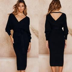 2019 Autumn Clothing Wrap Belted Midi Vestidos Long Sleeve V