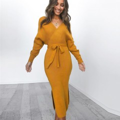 2019 Autumn Clothing Wrap Belted Midi Vestidos Long Sleeve V