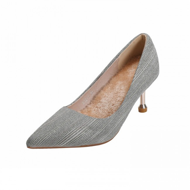 New style pointed toe, thin heel, velvet, simple fashion, bright powder upper fabric for marriage high heels