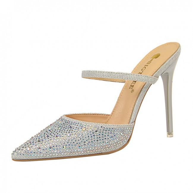 Private Label Tacon Bling Diamond Decoration Korean Style Women Slide Rhinestone Heels for Ladies Sandals